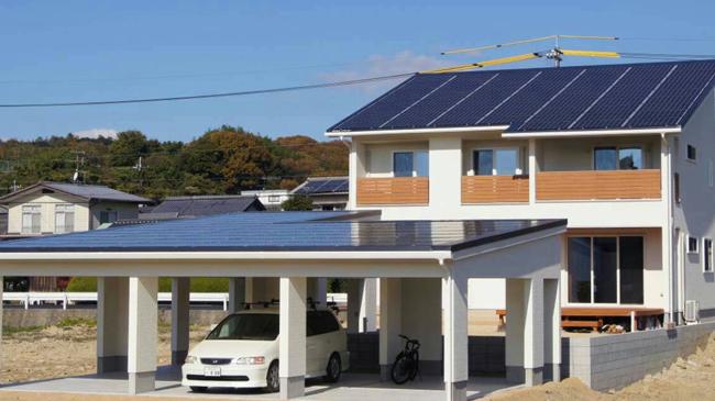 ソーラーパネルを導入した住宅 岡山県瀬戸内市
